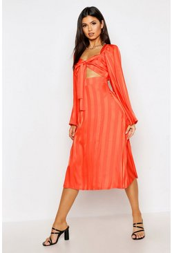 Womens Tangerine Satin Stripe Knot Front Flared Sleeve Skater Dress