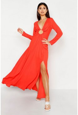 Womens Tangerine O Ring Plunge Front Split Leg Maxi Dress