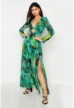 Womens Leaf green O Ring Plunge Front Palm Print Maxi Dress