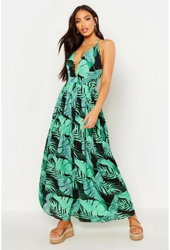 Womens Black Plunge Front Palm Print Maxi Dress