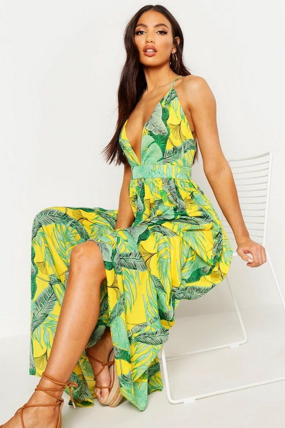 Womens Yellow Plunge Front Palm Print Maxi Dress