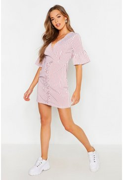 Rose Lace Up Front Striped Mini Dress