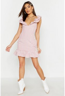 Nude Gingham Ruffle Detail Mini Dress