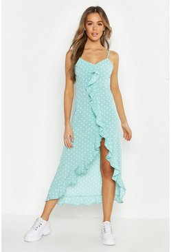 Womens Mint Polka Dot Wrap Front Ruffle Hem Midi Dress