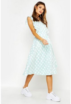 Womens Sage Plunge Front Ruffle Sleeve Polka Dot Midi Dress