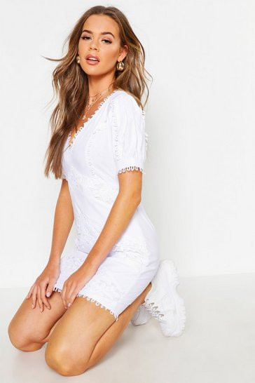Womens Ivory Lace Trim Linen Puff Sleeve Mini Dress
