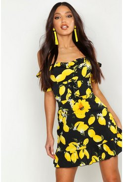 Womens Black Off The Shoulder Lemon Print Mini Dress