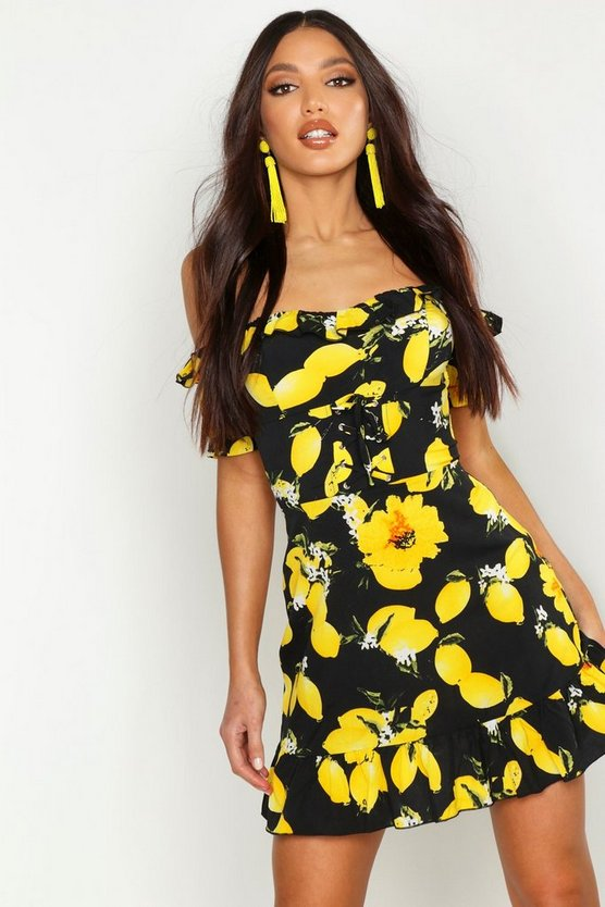 Dam Black Off The Shoulder Lemon Print Mini Dress