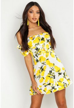 Womens Ivory Off The Shoulder Lemon Print Mini Dress