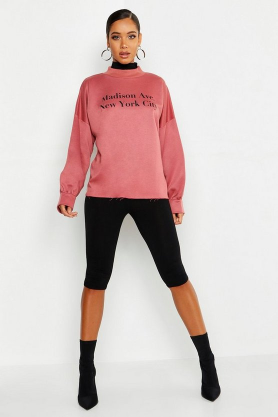 New York Funnel Neck Slogan Sweat