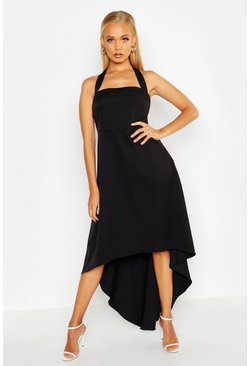 Black Halter Neck Asymetric Hem Midi Dress