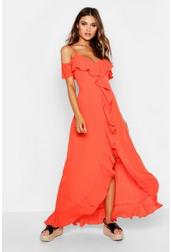 Coral Cold Shoulder Ruffle Front Maxi Dress