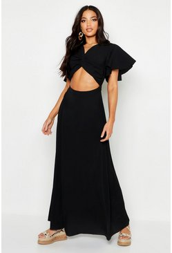 Black Knot Front Flared Sleeve Maxi Dress