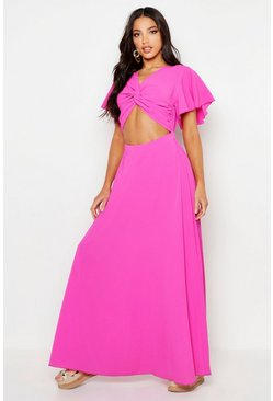 Hot pink Knot Front Flared Sleeve Maxi Dress