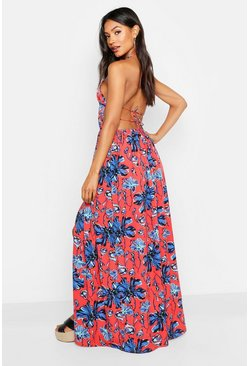 Womens Red Plunge Front Floral Print Maxi Dress