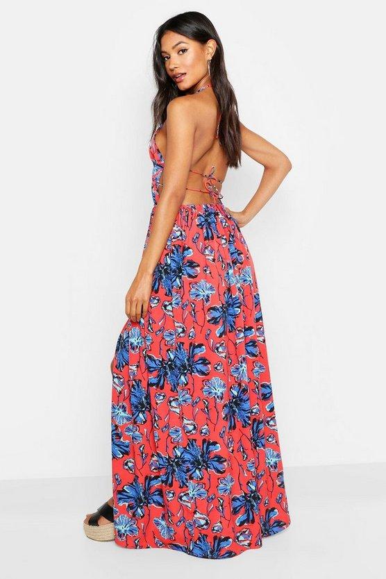 Plunge Front Floral Print Maxi Dress