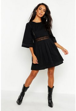 Womens Black Linen Crochet Trim Smock Dress