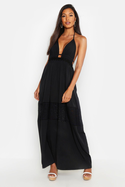 Lace Insert Halterneck Maxi Dress