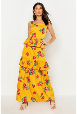 Womens Mustard Ruffle Layered Floral Maxi Dress