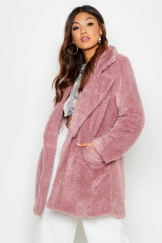 Pocket Front Teddy Faux Fur Coat