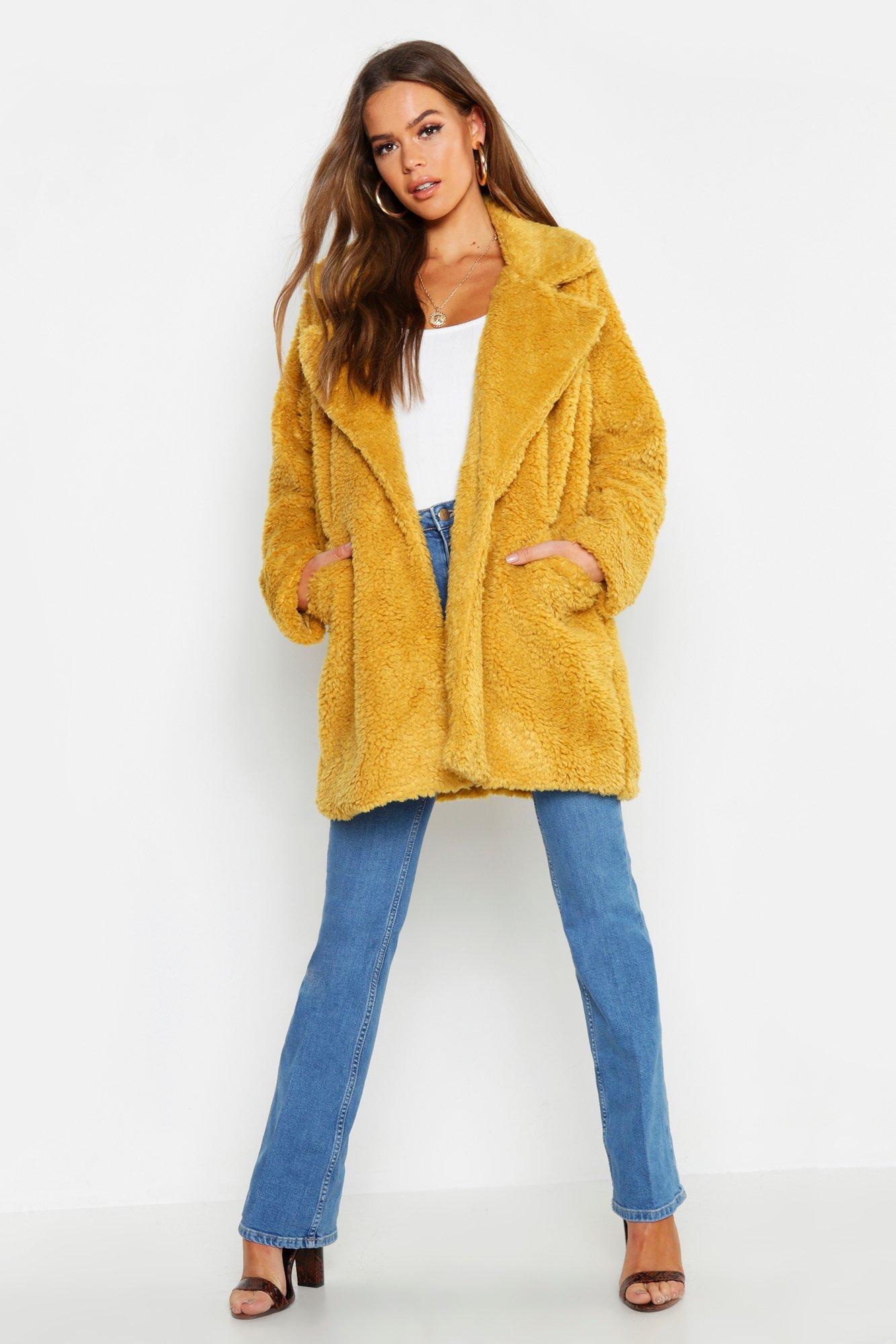 Pocket Front Teddy Faux Fur Coat