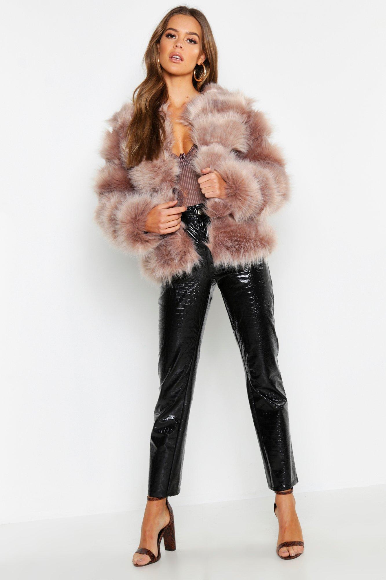 Boutique Faux Fur Panel Coat
