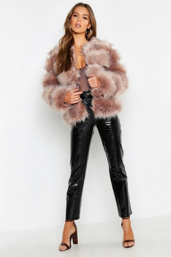 Boutique Faux Fur Panel Coat
