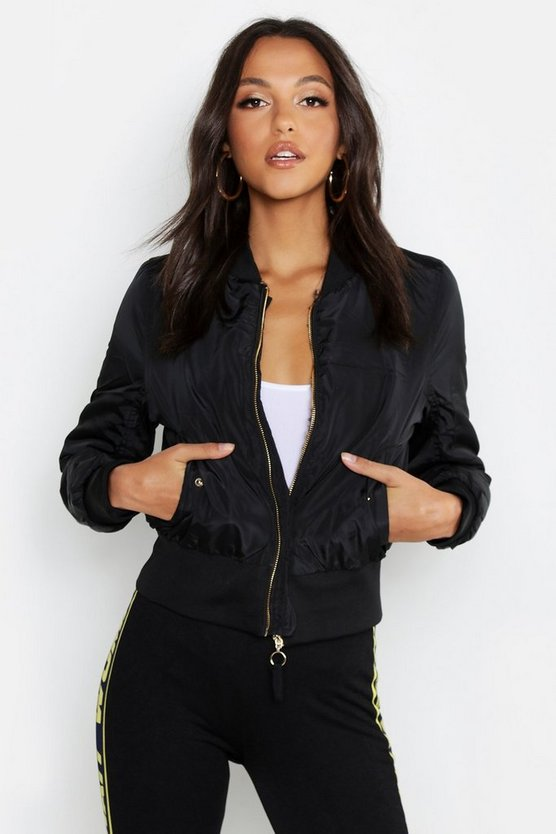 Womens Black Leopard Faux Fur Lined Bomber