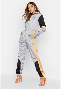 Womens Grey Colour Block Shell Jumpsuit