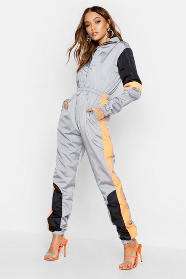 Womens Colour Block Shell Jumpsuit
