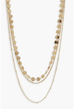 Womens Gold Circle Chain Simple Layered Necklace