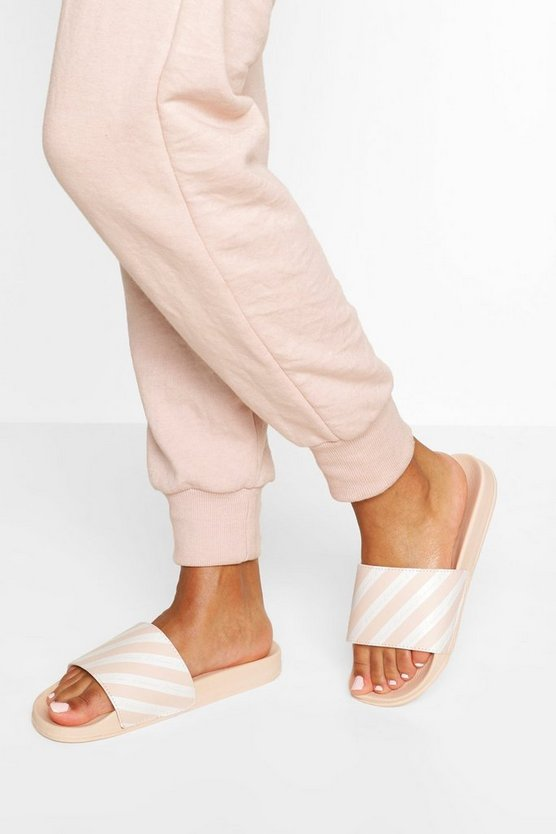 Womens Ecru Stripe Woman Slogan Sliders