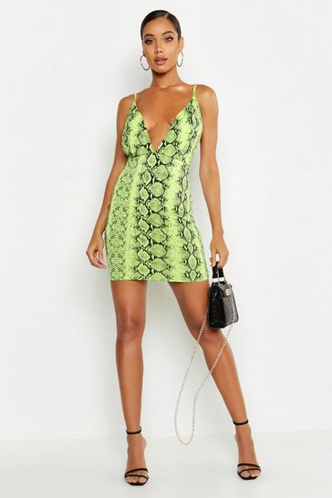 Womens Lime Neon Snake Extreme Plunge Bodycon Dress