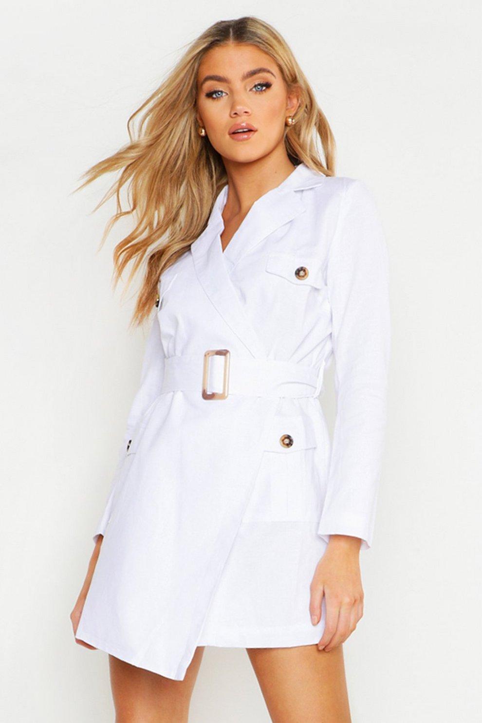 e0130eb629ee Linen Utility Blazer Dress   Boohoo