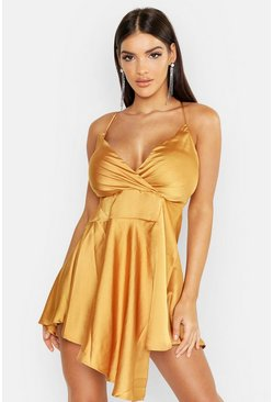 Womens Mustard Satin Drape Detail Mini Dress