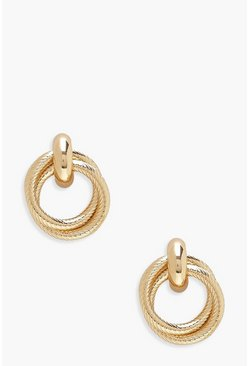 Womens Gold Twisted Circle Earrings
