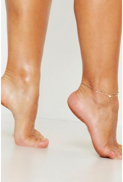 Womens Gold Heart Simple Layered Anklet