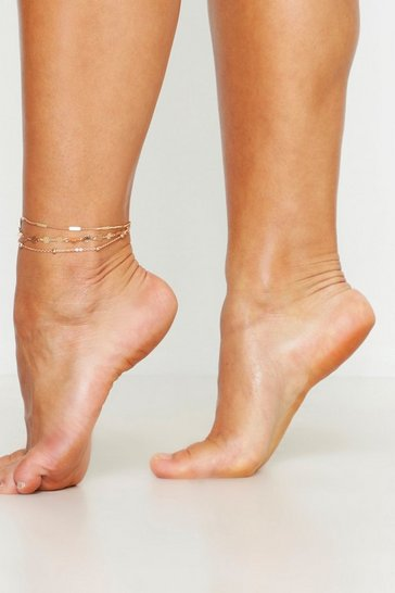 Womens Triple Chain Anklet