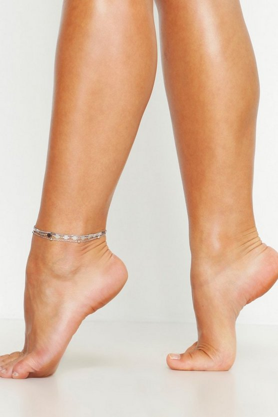 Silver Triple Chain Anklet