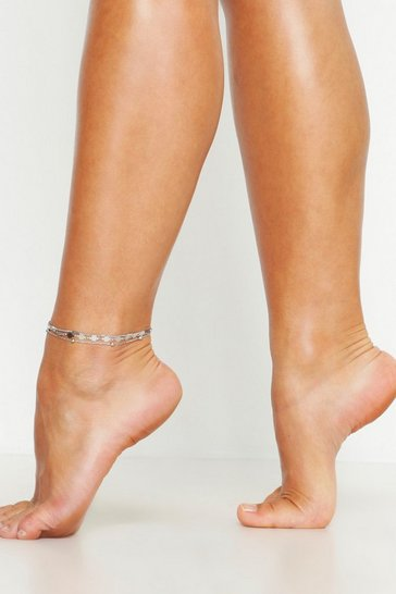 Womens Silver Triple Chain Anklet
