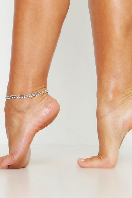 Silver Diamante Layered Anklet