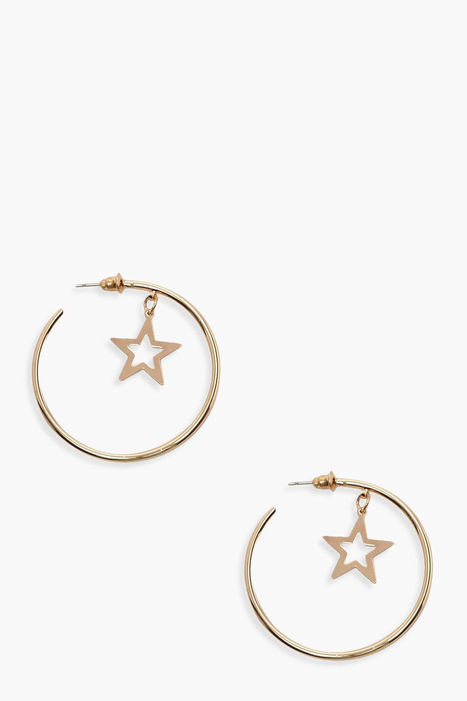 Star Charm Hoop Earrings