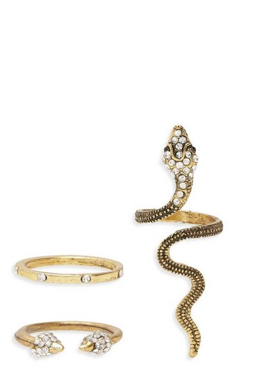 Womens Gold Statement Snake Ring Pack