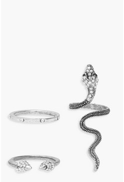 Womens Silver Statement Snake Ring Pack