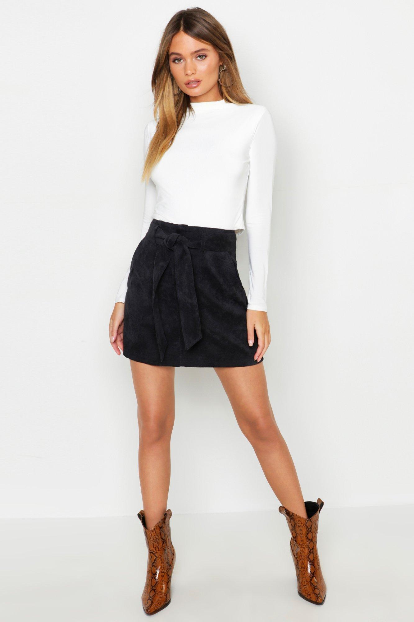 Pocket Front Tie Waist Cord A Line Mini Skirt