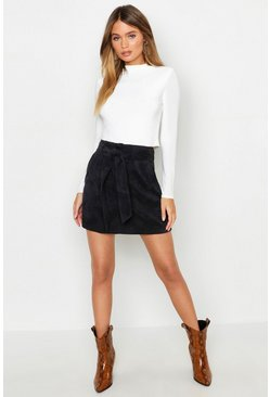 Black Pocket Front Tie Waist Cord A Line Mini Skirt