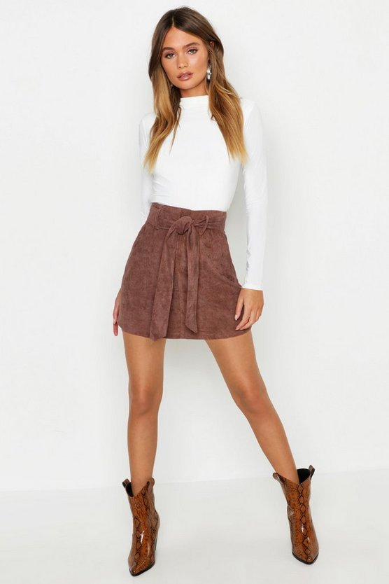 Womens Chocolate Pocket Front Tie Waist Cord A Line Mini Skirt
