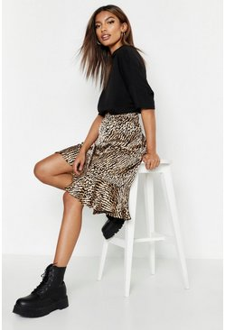 Sand Ruffle Hem Tonal Animal Midi Skirt