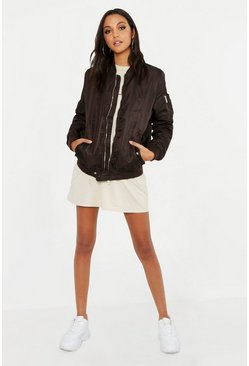 Womens Mocha Oversized Bomber Jacket