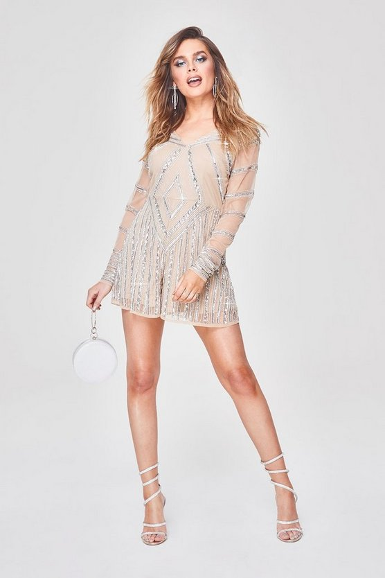 Womens Silver Premium Hand Embellished Plunge Playsuit